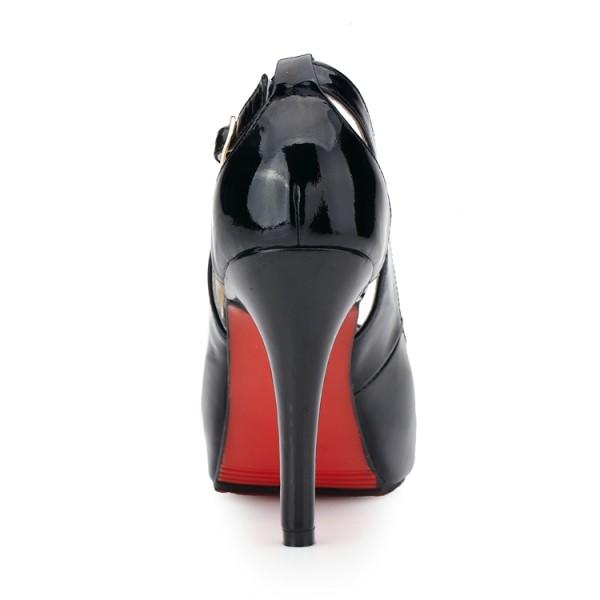 红底鞋鱼嘴鞋2013夏新款女鞋欧美黑色真皮防水台高跟